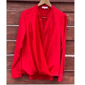 Calvin Klein Long Sleeve Red Dress Blouse Shirt L